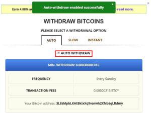 freebitcoin提款頁面-自動提款設定成功
