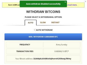 freebitcoin提款頁面-自動提款取消設定成功