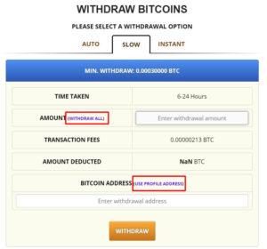 freebitcoin提款頁面-慢速提款金額與地址設定畫面