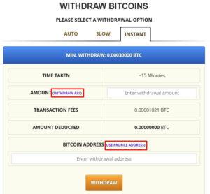freebitcoin提款頁面-快速提款金額與地址設定畫面